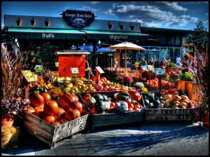 Marché public fruits et légumes frais